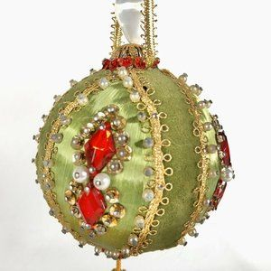 Handmade Christmas Ornament Green Red Beads Satin